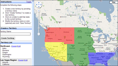 Web Applications for Sales Territory Management on